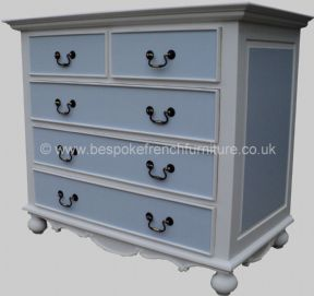 Sandrine 5 Drawer 120cm French Chest in your choice of colour